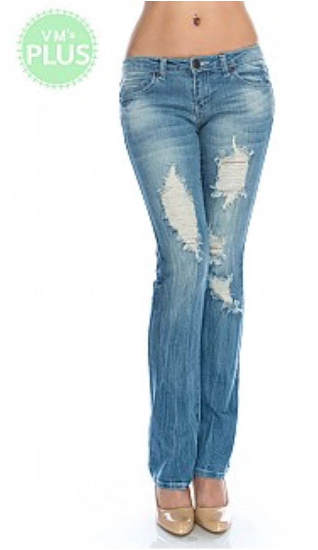 Low Rise Distressed Jeans (Plus Size) by April Jeans