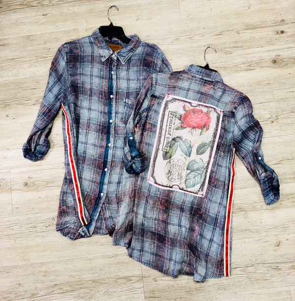 The Nu Vintage Rose Patch Plaid Shirt