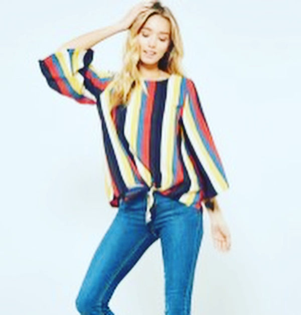 Promesa - Wide Rainbow Stripe Tie Bottom Bell Sleeve Blouse