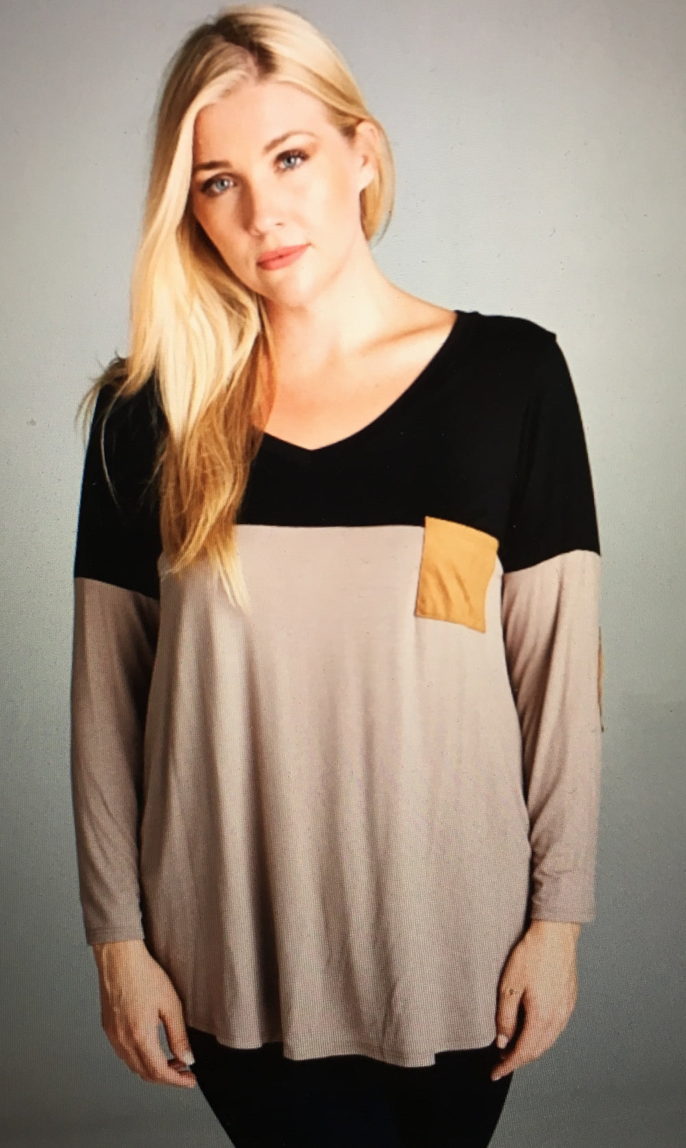 OrangeShine Long Sleeve Dual Colored Pocket Shirt in Taupe- Plus Size