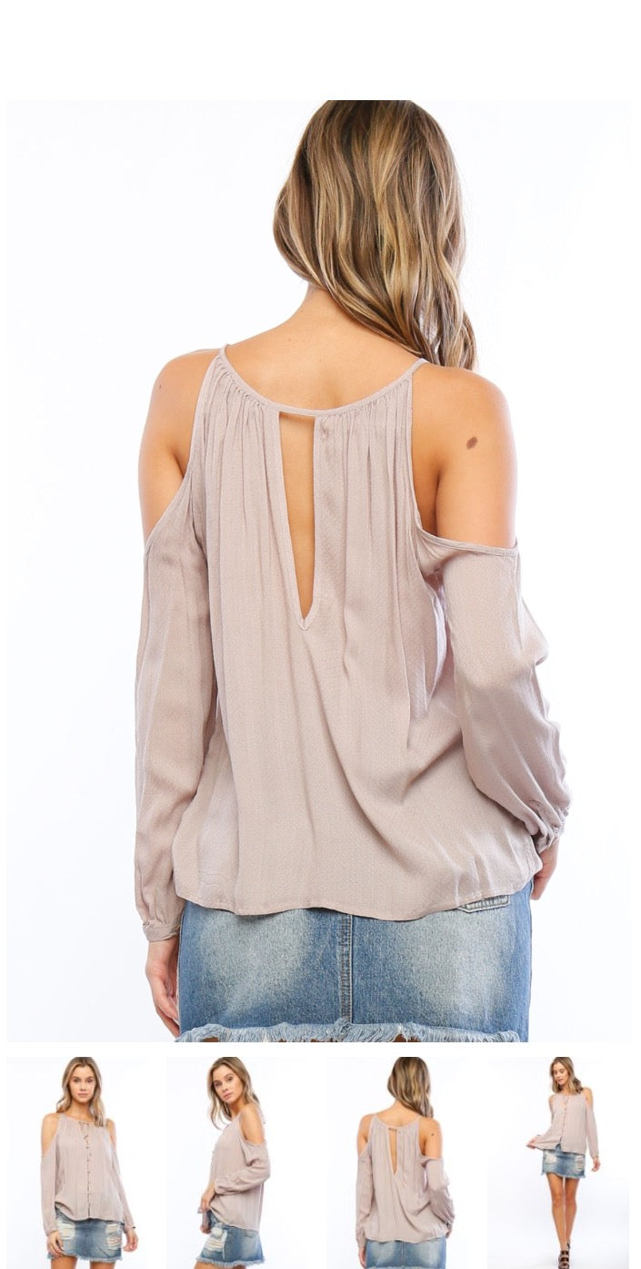 Timing Cold Shoulder Button Down Tie Top