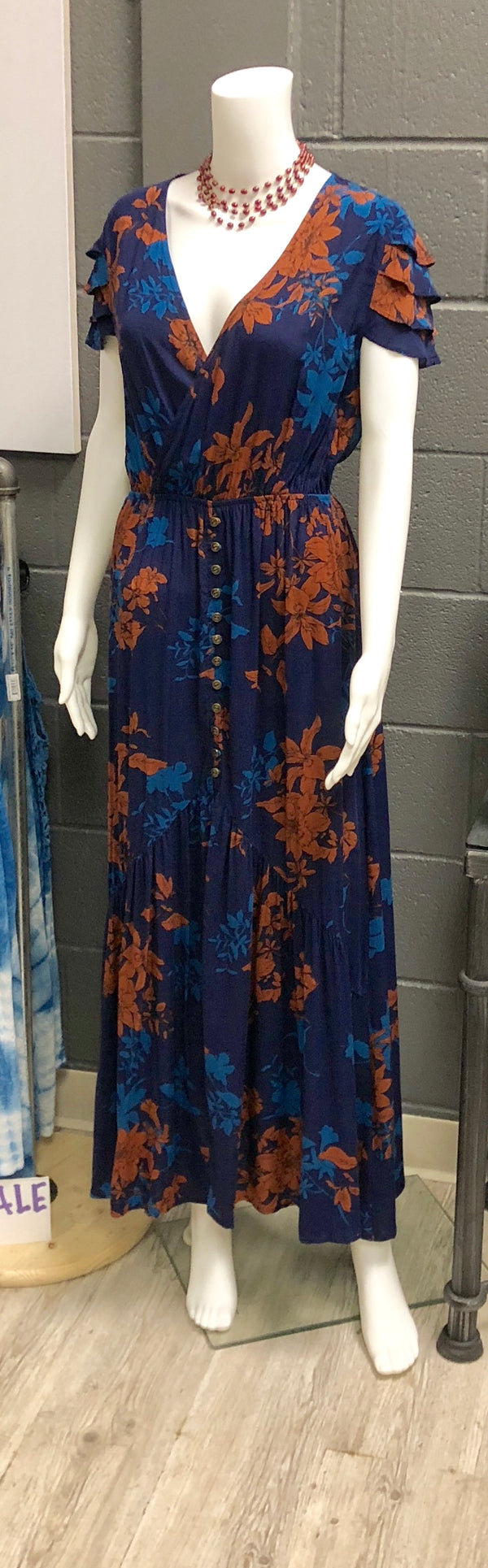Sage the Label - Blue Floral Maxi with Flutter Sleeves