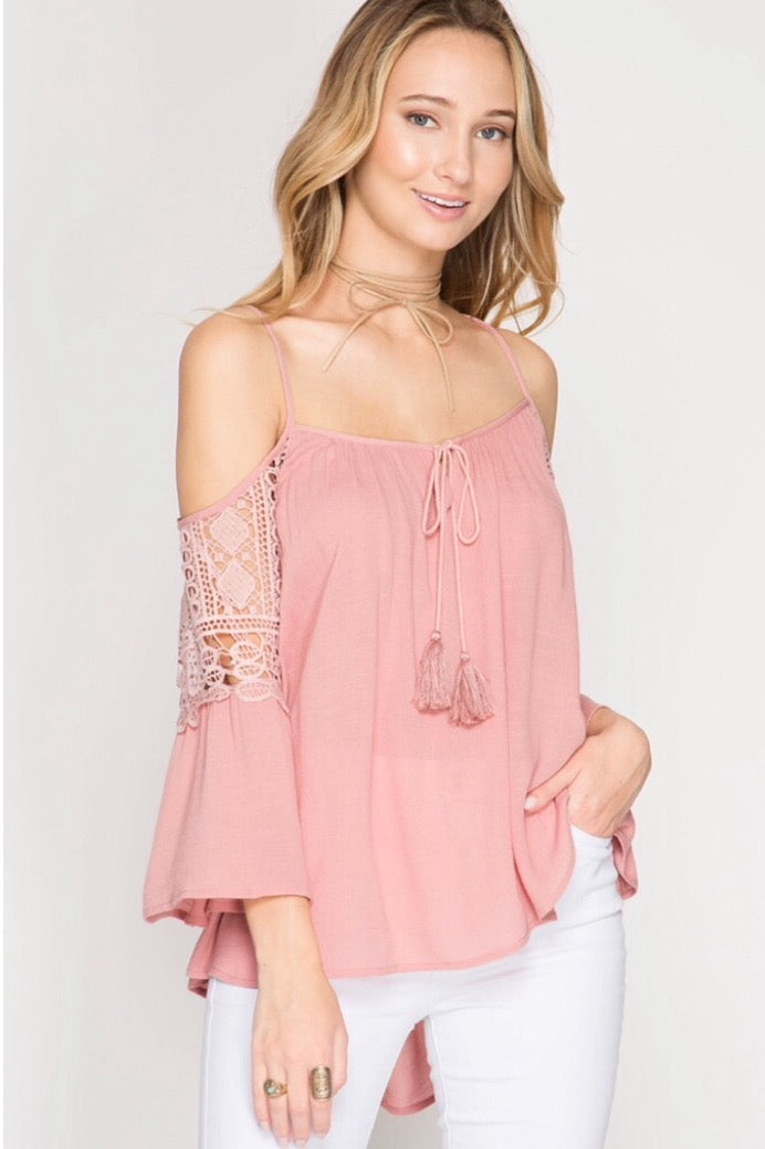 She + Sky - Cold Shoulder Cross Back Bell Sleeve Top in Rose