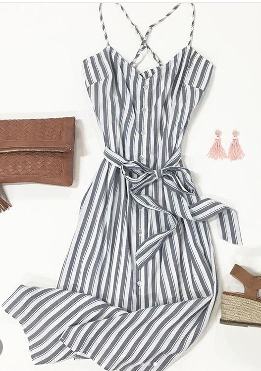 Willow & Clay - Stripe Tie Spaghetti Strap Dress