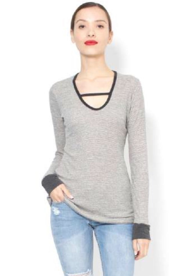 V Neck Thermal Long Sleeve T-Shirt in Grey by Jet