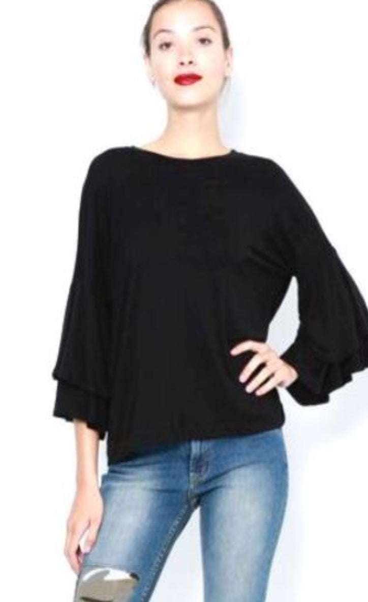 Double Ruffle Sleeve Top in Black by Jet