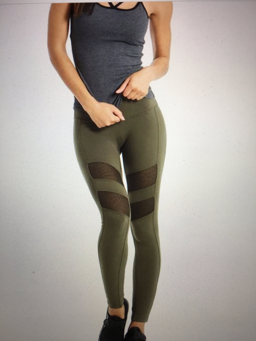 Mesh Inset Legging in Olive by Hard Tail