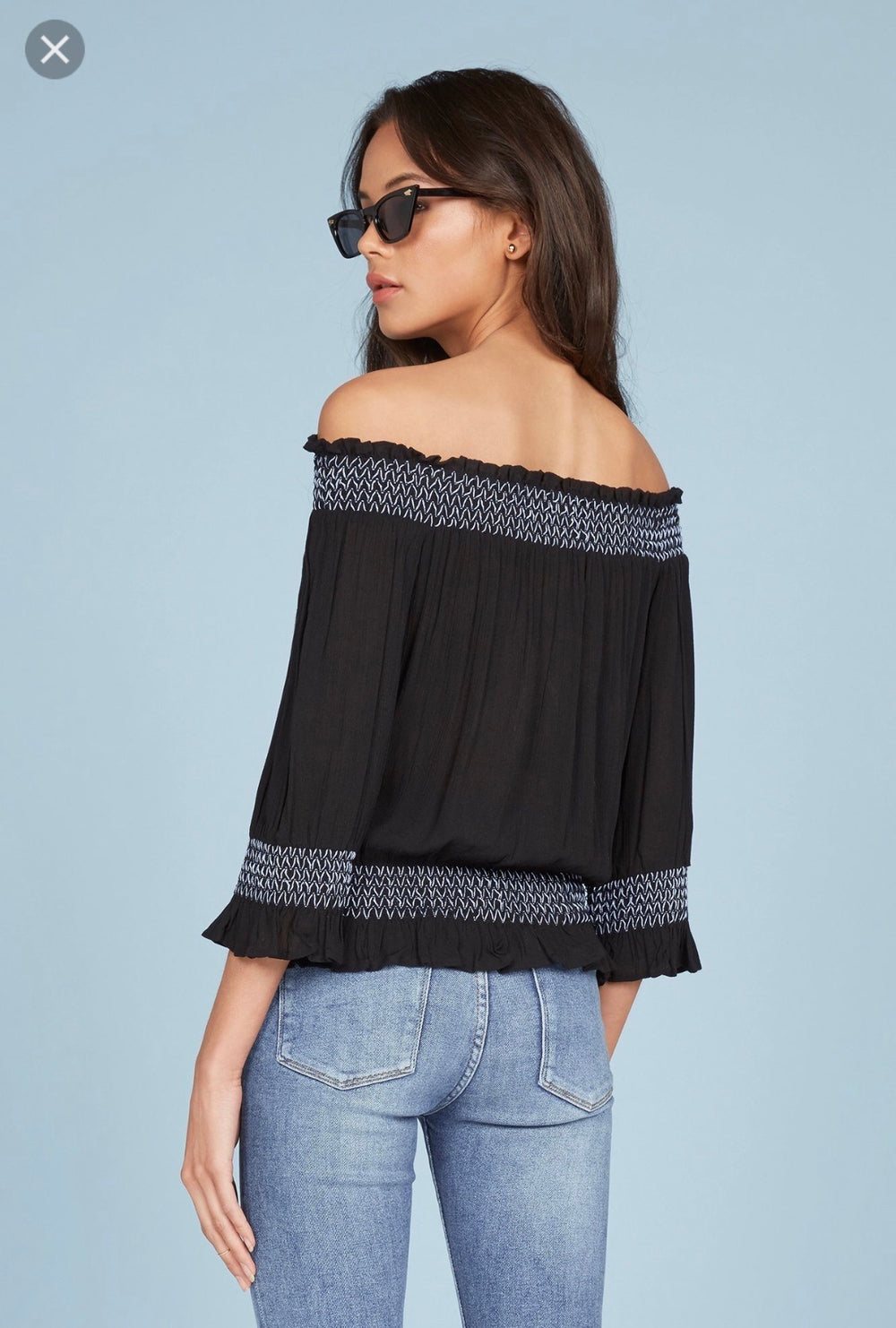 Willow & Clay Off Shoulder Embroidered Top