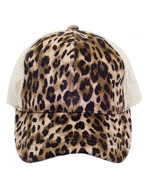 Orangeshine - Cheetah Ponytail Hat
