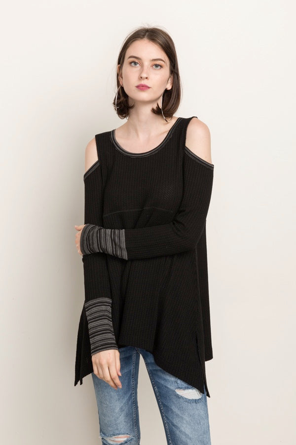 Mystree - Cold Shoulder With Stripe Cuff Top in Charcoal