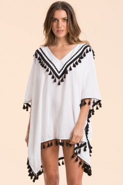 Elan - White with Black Tasseled V Neck Kaftan Poncho