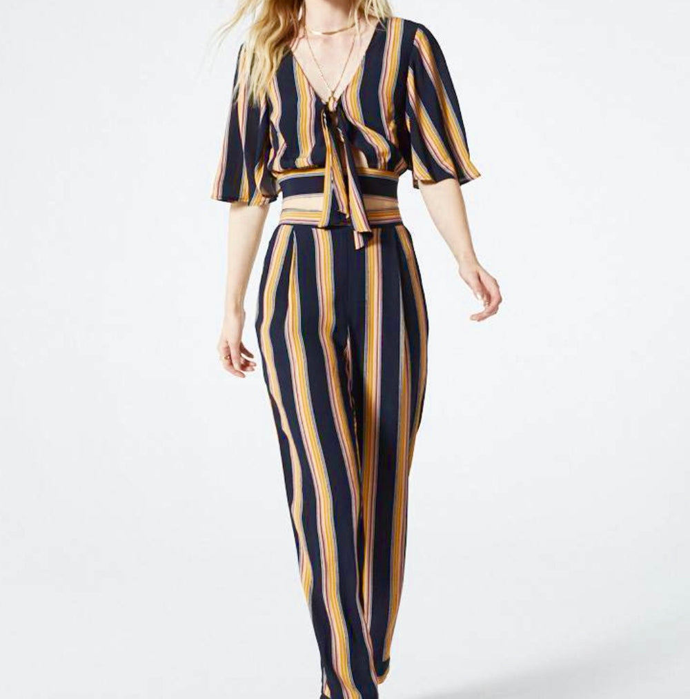 Band of Gypsies - Black Gold & Pink Stripe Palazzo Pant