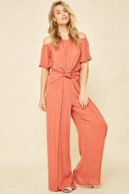 Promesa - Peach Tie front Off Shoulder Top