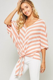 Promesa - Peach & White Stripe Tie Front Knit Dolman Sleeve Blouse