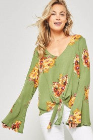Promesa - Green Floral Tie Bottom with Bell Sleeves