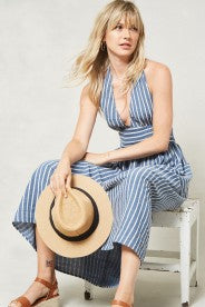Promesa Blue & White Stripe Halter Dress