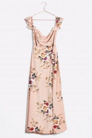 Promesa Peach Floral Off Shoulder Dress