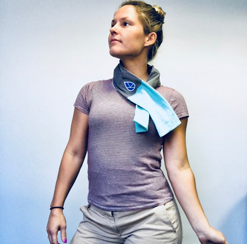 Dr Gretchen wearing a blue Koldtec Ice Towel