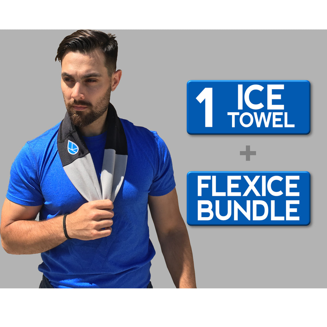 Ice Towel + FlexIce Bundle Stone Gray