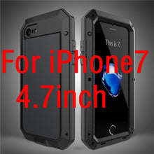Luxury doom armor Dirt Shock Waterproof Metal Aluminum cell phone case For iphone 7 SE 4S 5 5C 5S 6 6S Plus case +Tempered glass
