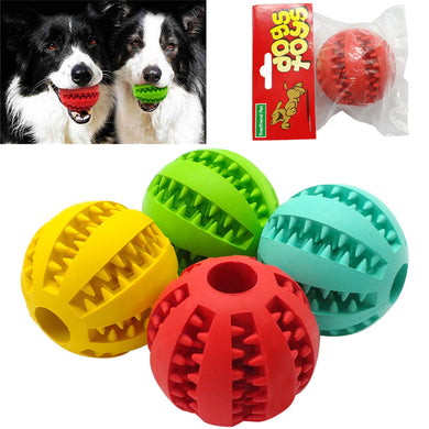 Soft Rubber Chew Ball Toy For Dogs Dental Bite Resistant Tooth Cleaning 4 Colors