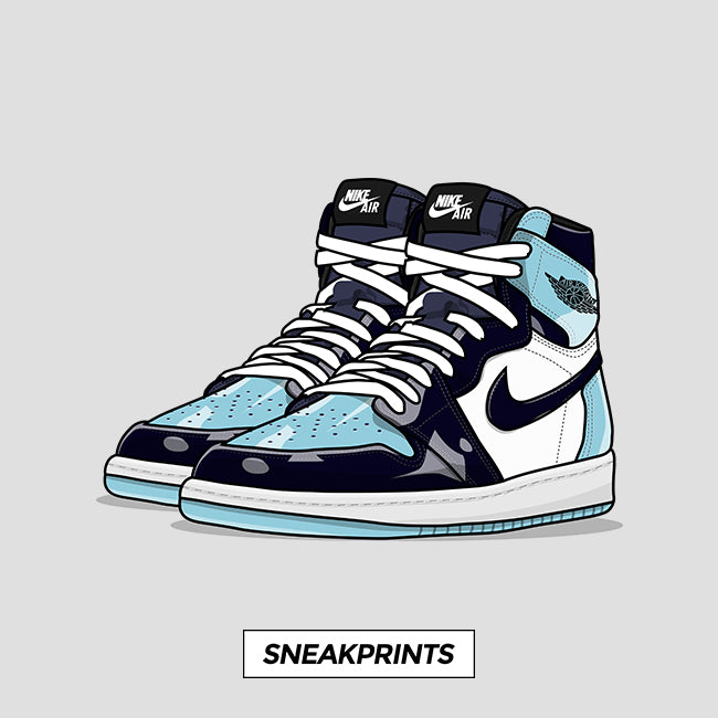 Jordan 1 Blue Chill Unc Patent Sneakprints Poster
