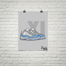"Jordan 11 Low ""UNC"" SneakPrints Poster"