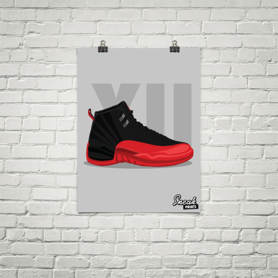 Jordan XII Flu Game SneakPrints Poster