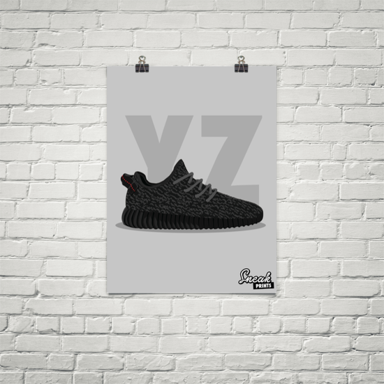 Yeezy Boost 350 Pirate Black SneakPrints Poster