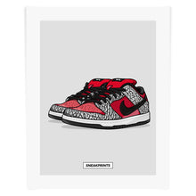 "Dunk SB Low ""Supreme"" Red Cement SneakPrints Poster"