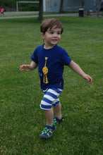 Toddler Boy in Strip Free One-Piece Giraffe Romper with a Back Zipper in Blue/White - Terrible 2's Solutions