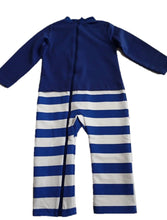 Strip Proof One-Piece Toddler Romper With a Back Zipper in Blue/White