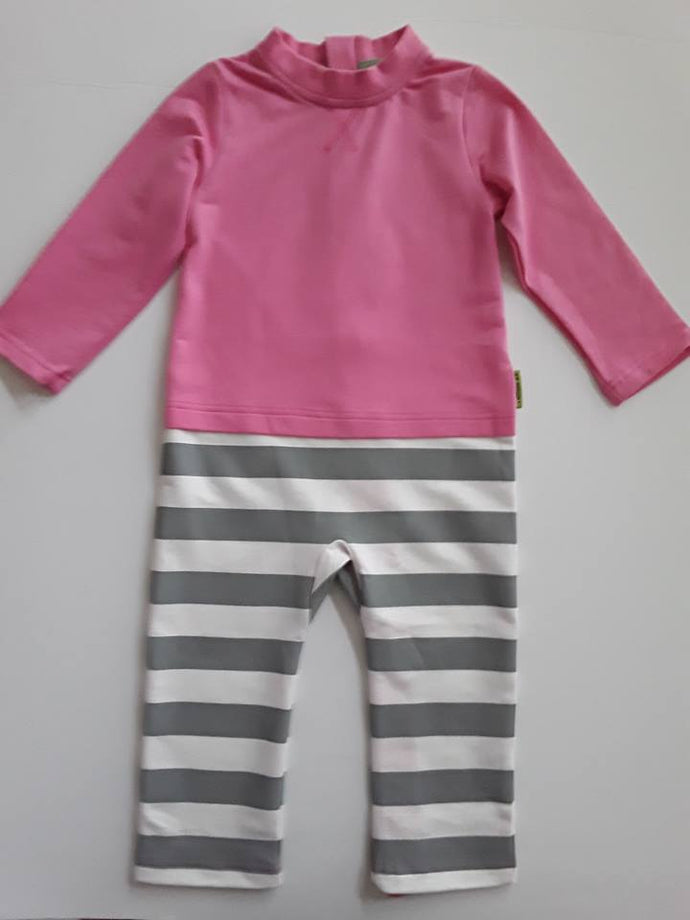 One Piece Strip-Proof Toddler Romper in Pink/Gray