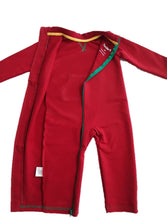 Strip-Proof Toddler Romper with a Back Zipper in Red/Green