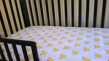 Fitted Crib Sheet with Ties white with yellow crowns