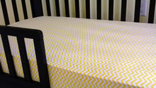Fitted Crib Sheet with Ties white with yellow chevron stripes