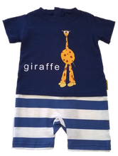 Strip-Proof One-Piece Giraffe Romper with a Back Zipper in Blue/White