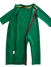 Strip-Proof Toddler Romper with a Back Zipper in Green/Red
