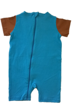 Strip-Proof Toddler Bear Romper with a Back Zipper in Blue/Brown