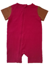 No-Strip Sensory Friendly Toddler Bear Romper in Pink/Brown
