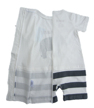 One Piece Strip-Proof Toddler Elephant Romper in White/Gray