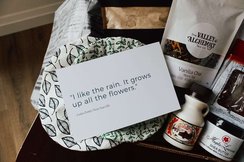 "A picture of a postcard that says ""I like the rain. It grows up all the flowers."""