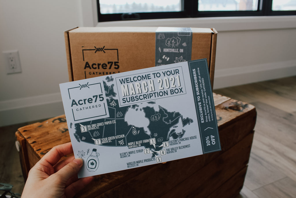 A photo of the March 2021 Acre75 Gathered Box Information Card