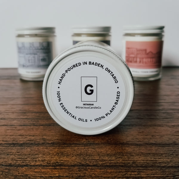 Gracious Candle Co. Handpoured in Baden, Ontario, Canada. Essential Oil Candles
