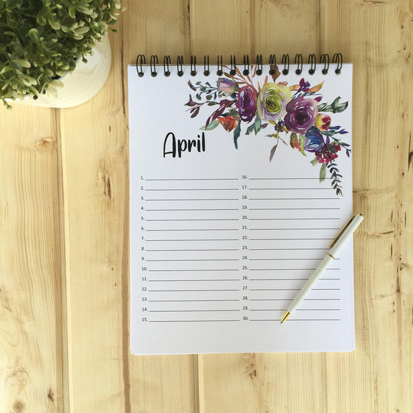 April Large Floral Perpetual Calendar - Fort Saskatchewan, AB