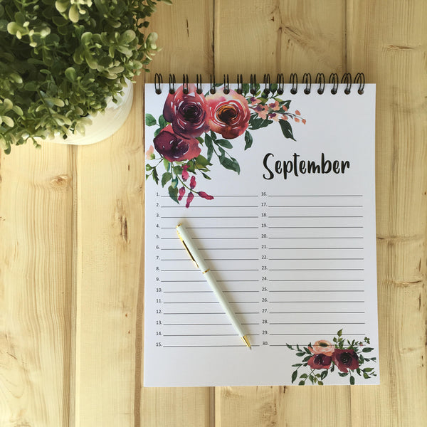 September Large Floral Perpetual Calendar - Fort Saskatchewan, AB