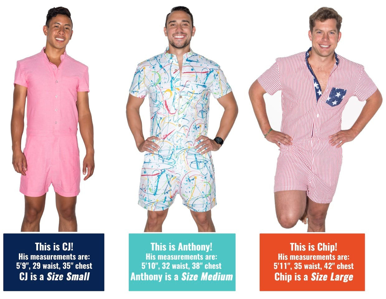 RompHim male romper fit guide with three models in Small, Medium, Large
