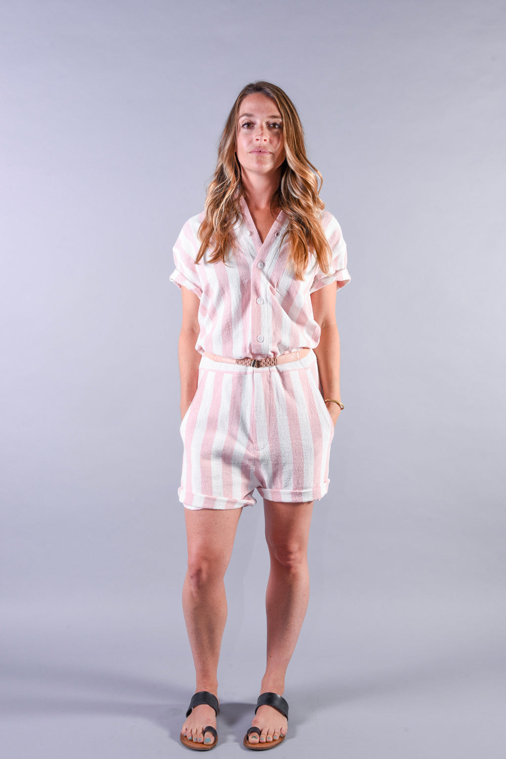 Pink Stripe romper [Final Sale]
