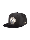 Minnesota Timberwolves Youth 9FIFTY on Court Black and Gold Lux Mesh Faux Suede Fit Cap