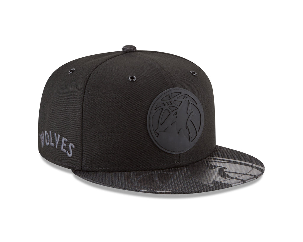 Minnesota Timberwolves On Court 9FIFTY Rubber Logo Team Snapback - Black - Timberwolves Team Store